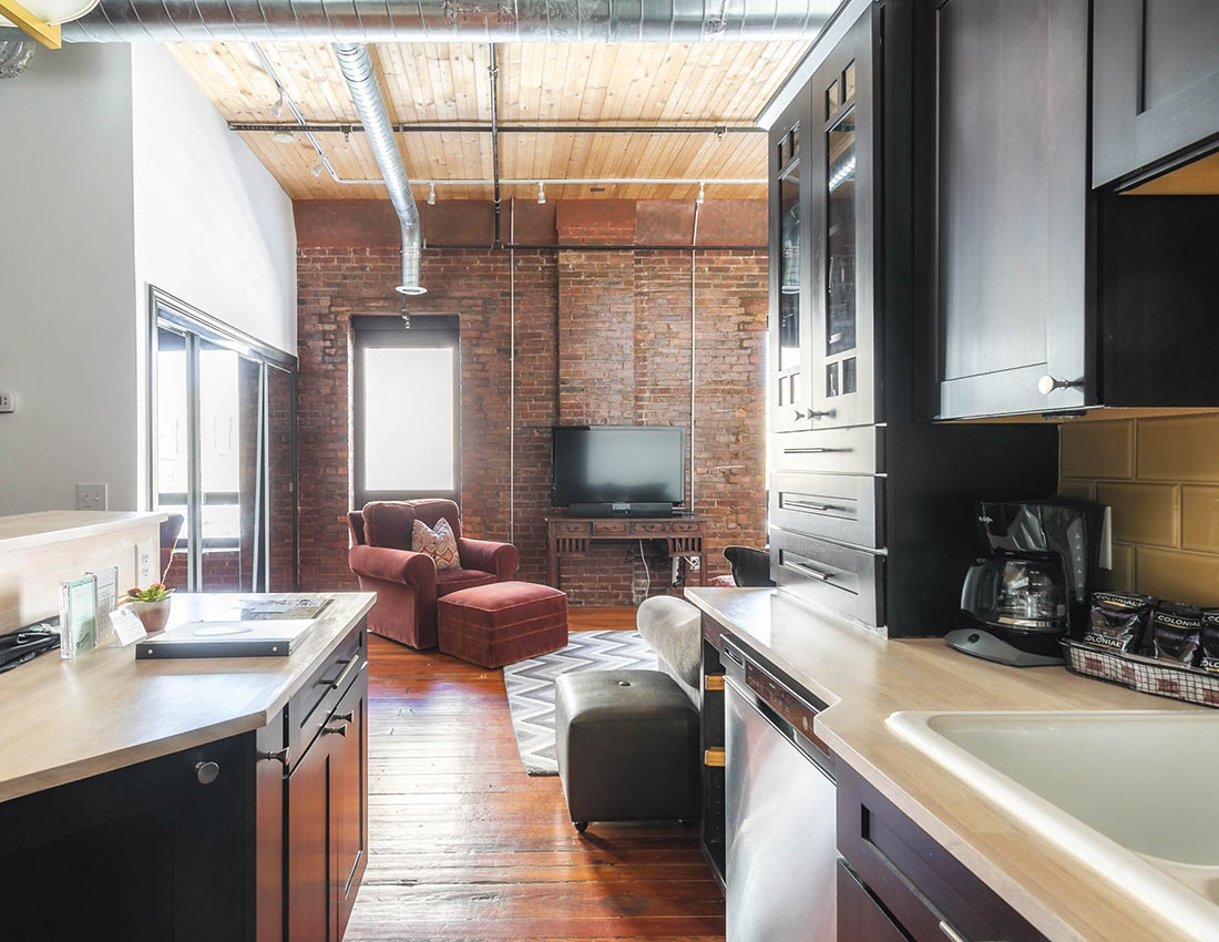 printers alley suite loft kitchen