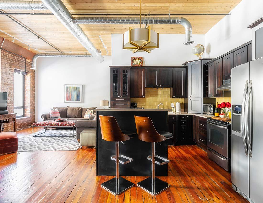 printers alley suite loft kitchen
